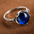 925 Sterling silver Natural semi-precious stones Garnet ring Blue corundum Retro rings Women jewelry accessories Girlfriend gift