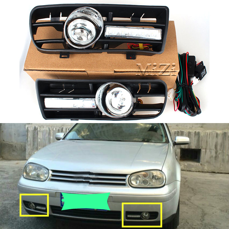 One Pair Day Running Lights Front Fog Light Lamp Lower Grill Lower Grille Auto Racing Grills For VW GOLF 4 MK4 1997-2006 5 pieces set front auto fog lights with racing grills cable auto accessories for volkswagen jetta mk6 2011 2014 parts p22