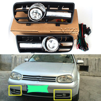 One Pair Day Running Lights Front Fog Light Lamp Lower Grill Lower Grille Auto Racing Grills For VW GOLF 4 MK4 1997 2006