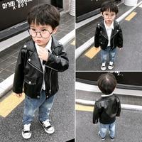 Infant boys coat leather black kids bomber jacket motorcycle biker streetwear tops cardigan outwear turn down Collar punk girl