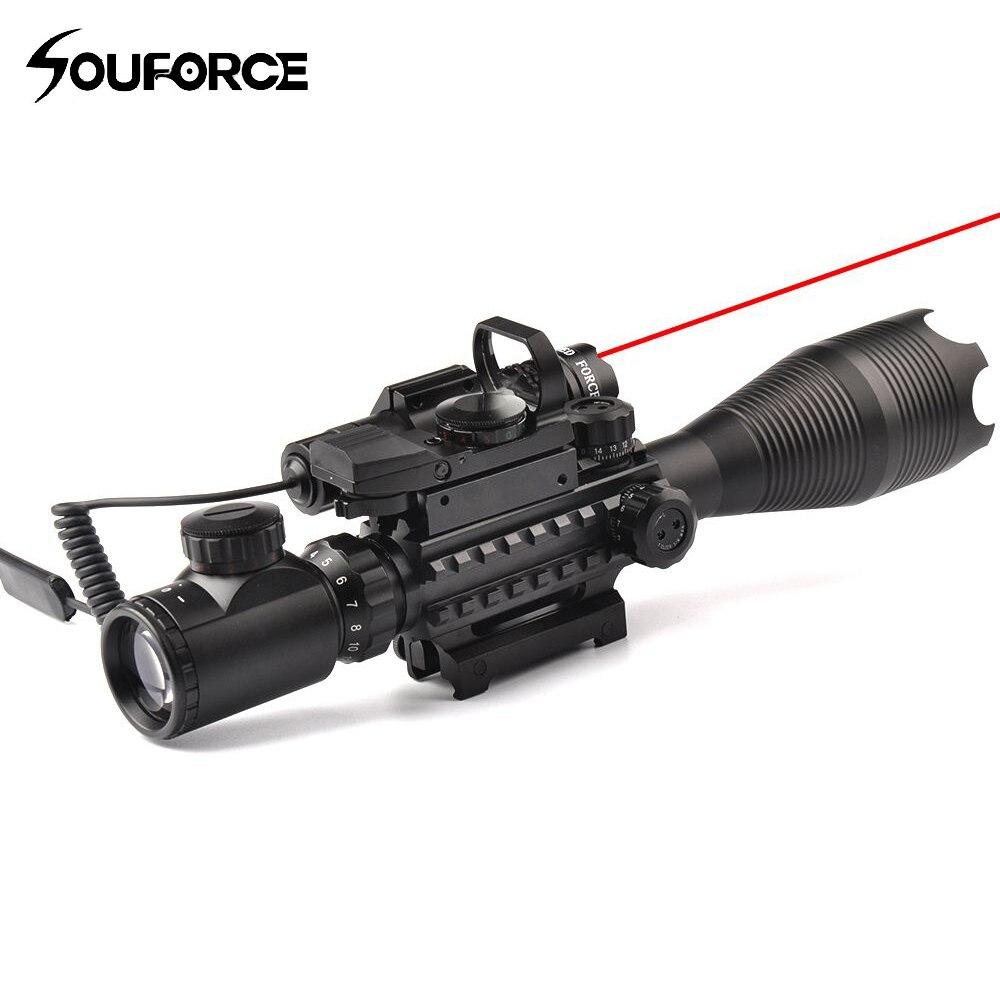 4-16X50EG прицел + HD107 микро-голографический двойной подсветкой точка зрения + красный/зеленый лазер Combo для винтовки страйкбол прицел