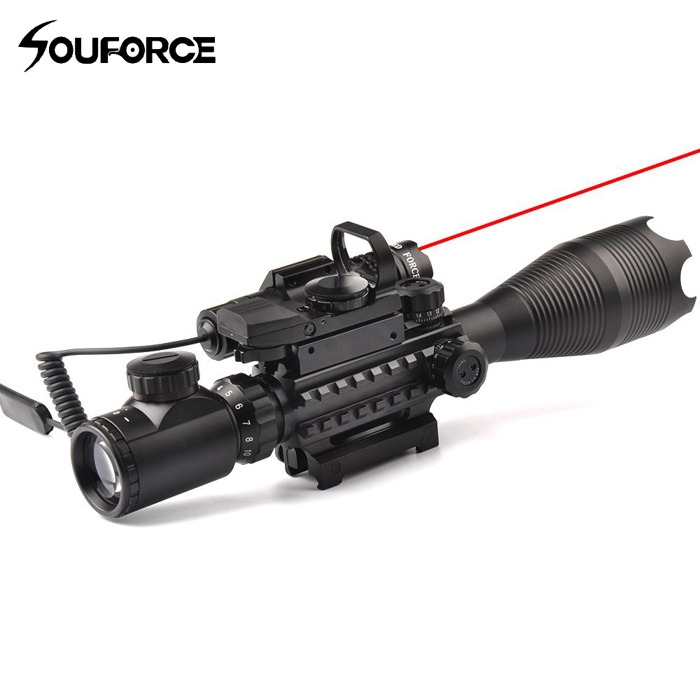 4-16X50EG Rifle Scope + HD107 Micro Holographic Dual Illuminated Dot Sight + Red/Green Laser Combo for Rifle Airsoft Gun Sight