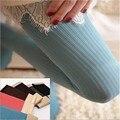 Frete grátis inverno mulheres OPAQUE listrado calças manter quente de veludo elástico meias calça 80D
