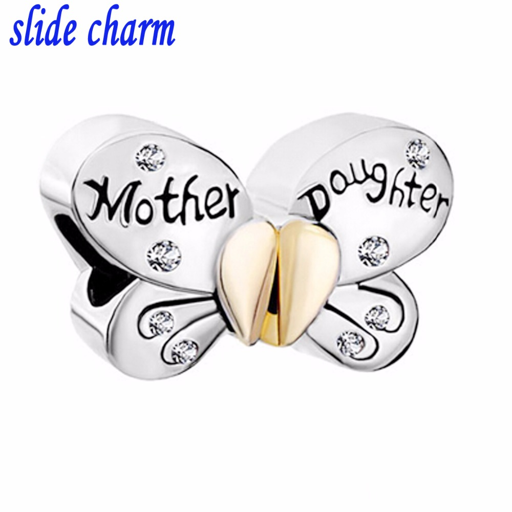 slide charm Mothers Day Mom and daughter free shipping white rhinestone butterfly animal charm beads fit Pandora bracelet
