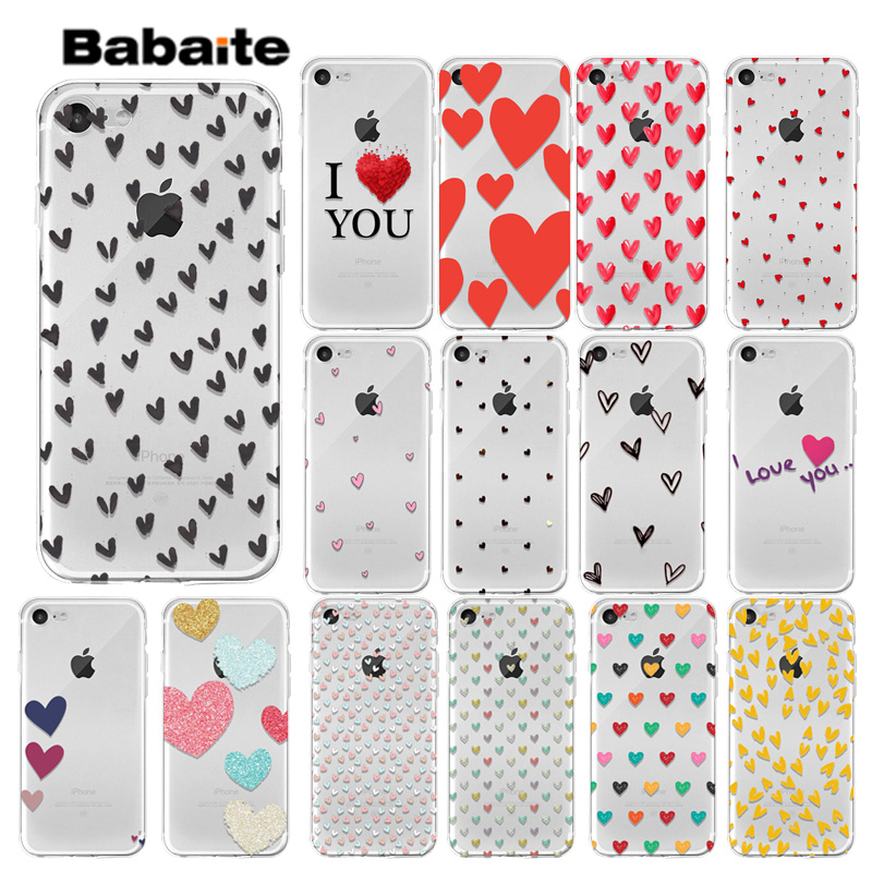 Babaite Love heart Newly Arrived Transparent Cell Phone Case for iPhone 7 7plus 6S 6plus 8 8Plus X Xs MAX 5 5S XR