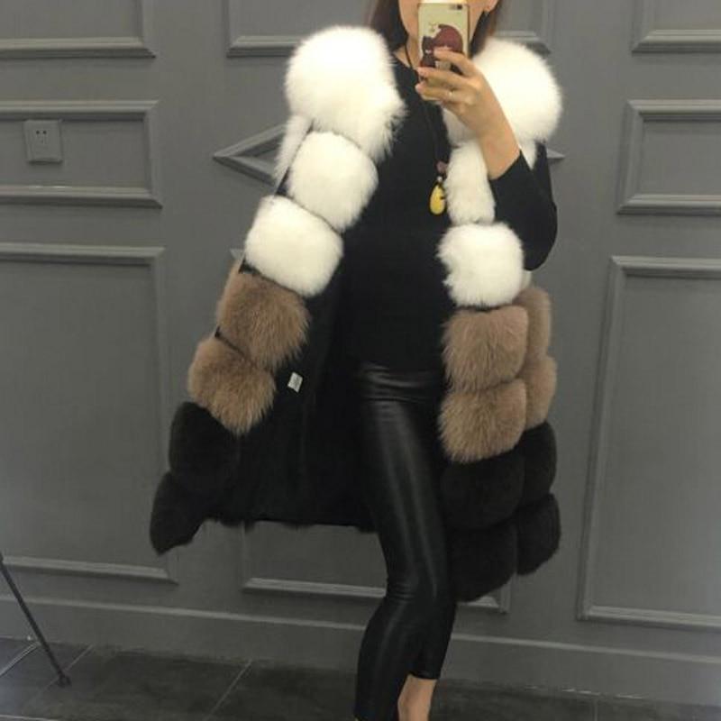 Moyen 2018 Faux Nouveau long Haute Femmes Veste camel Fourrure style Gilet De Mode Manteau Mélangées gold Imitation Grey Couleurs r7SrZ