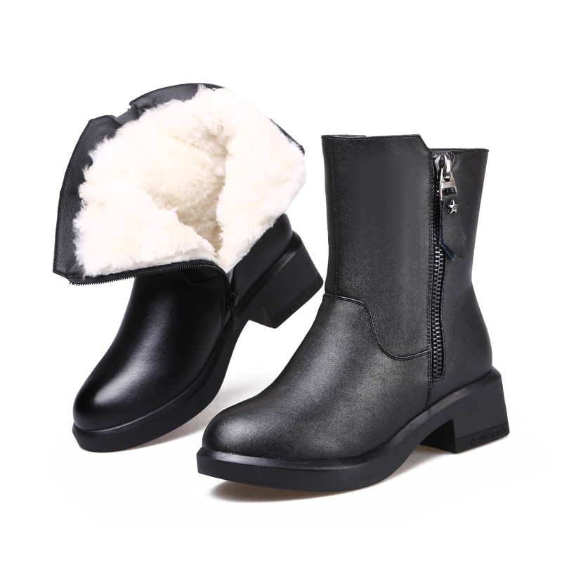 ZXRYXGS Brand Boots Fashion Black Cowhide Leather Boots 2018 New Winter Boots Women Shoes Comfort Warm