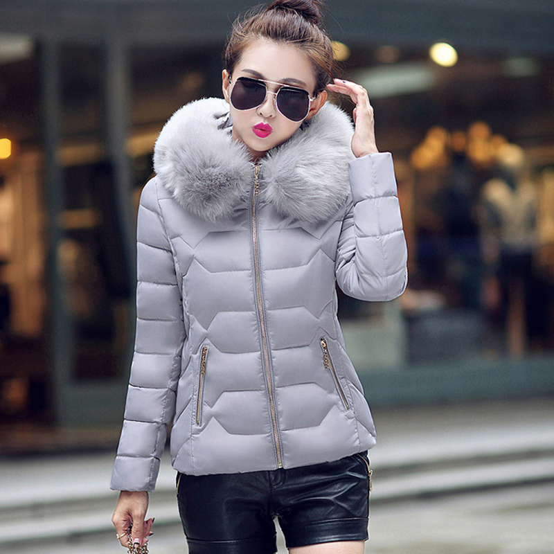 Winter Short Women Jacket Coat Cotton Warm Fur Hooded Parkas Women Outwear Zip Casual Fashion Black Warm Female Coats WT4583 9