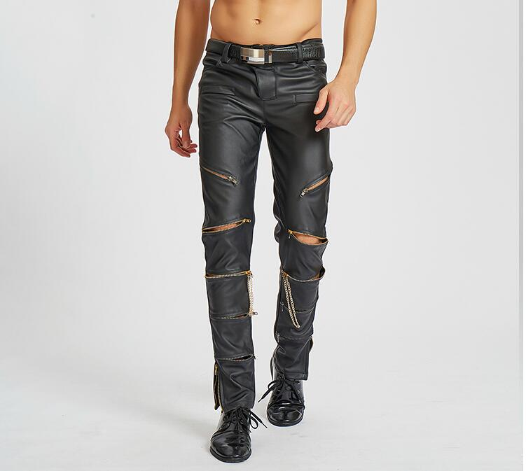 bfac4ff753d3a4 Zipper personality fashion motorcycle faux leather pants mens feet pants  thin pu trousers for men pantalon homme Elasticity