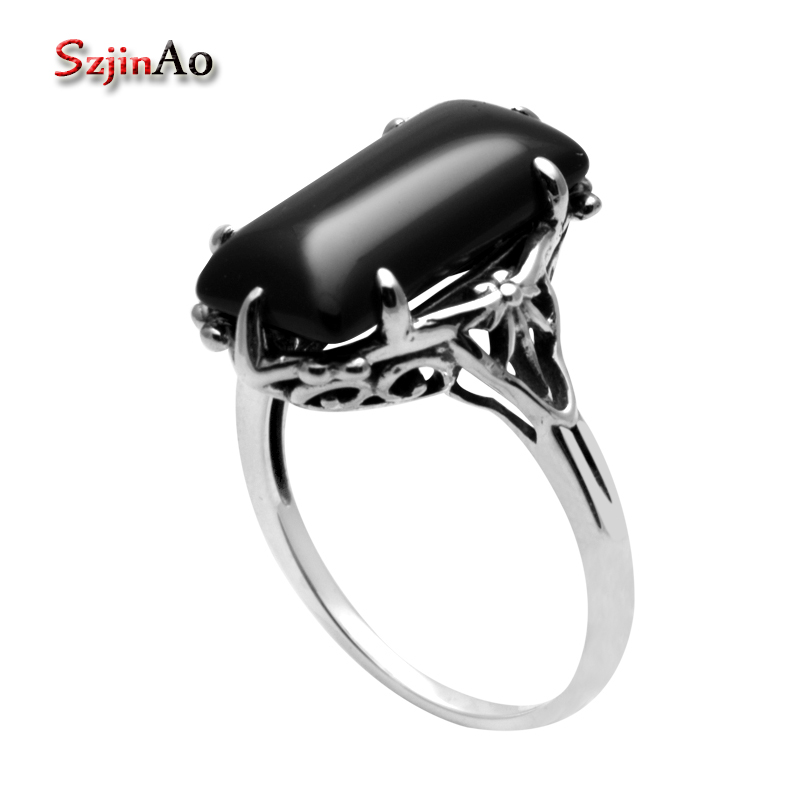 Szjinao Black Agate Ring For Women Real 925 Sterling Silver Handmade Fine Jewelry Gemstones Punk Victoria Female Gift Wholesale