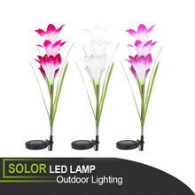 Solar LED Lily Flower Light Color Changing Energy Saving Lamps Outdoor Garden Path Yard Decoration Lawn Flower Party Lamp retro luz de led solar energy pillar light waterproof garden home path lawn outdoor lamps new year christmas garland decoration