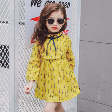 цена на Girls dresses 2019 Spring and autumn wild floral baby dress waist long sleeve girl clothes 2-3-4-5-6 years old children clothing