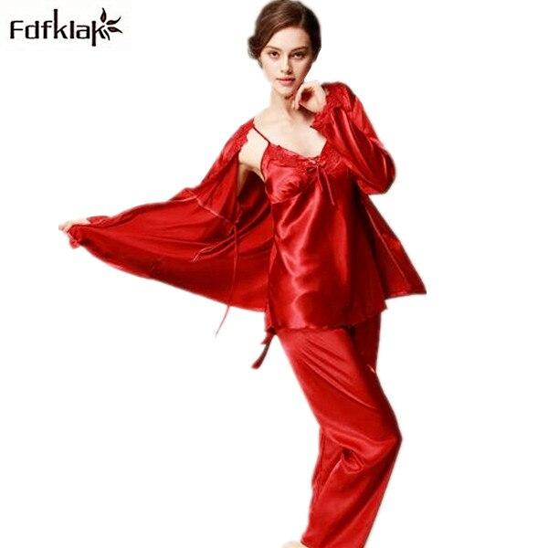 Plus size silk pajamas for women sexy v-neck long sleeve satin pajama ladies home clothe ...