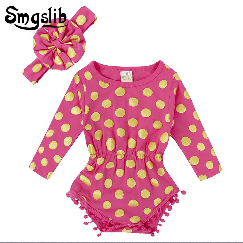 Baby girl romper newborn Headband Set polka dot romper Toddler Girl Clothes Photography Props kids jumpsuit baby onesie
