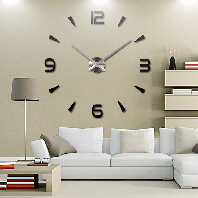 3d diy acrylic mirror wall clock watch wall stickers home decor