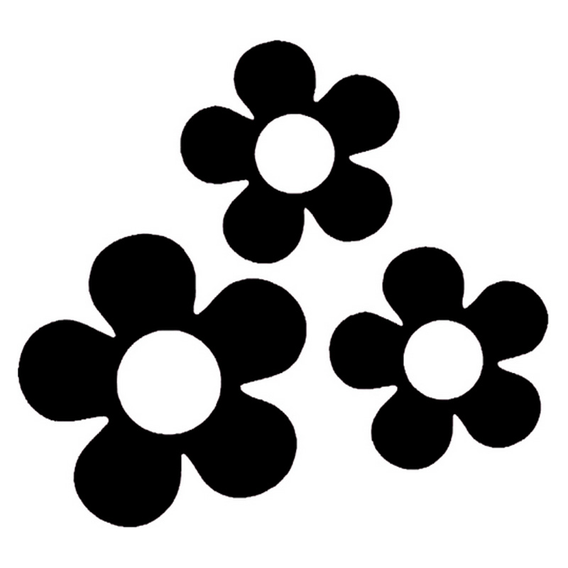14.3cm*13.2cm Cute Flower Vinyl Car-Styling Car Sticker Motorcycle Black/Silver S3-4729