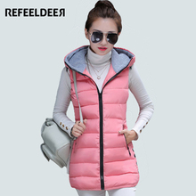 New Arrival Womens Long Vest Waistcoat  2016 Ladies Winter Vest Jacket Sleeveless Hooded Down Cotton Thick Warm Vest Female