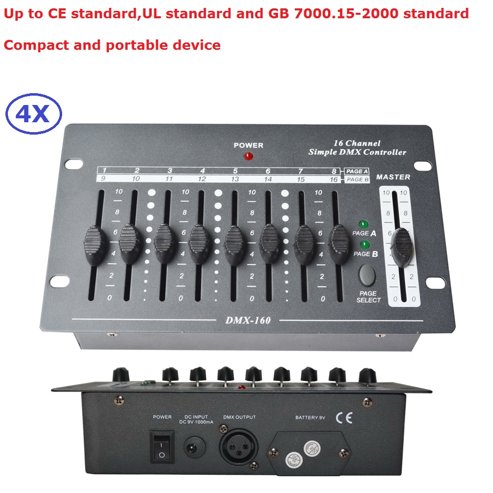 4XLot New 16 Channel Simple DMX Controller Control Moving Head Led Par Stage Lights Consoles DJ Disco DMX Controller Equipments