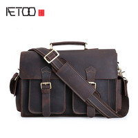 AETOO Europe and the United States mad horse leather men shoulder bag retro briefcase leather computer bag head layer leather Me
