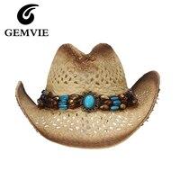 Летние Шапки выдалбливают Запад Ковбой соломенная шляпа с Искусственный Бирюзовый Повседневное ручной работы Шляпы широкополые для женщи...