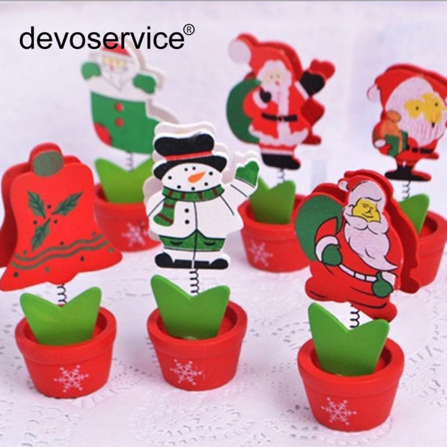 1pc christmas wooden clips photo clips clothespin bookmark decoration memo paper clip card note holder office - Office Supply Christmas Decorations