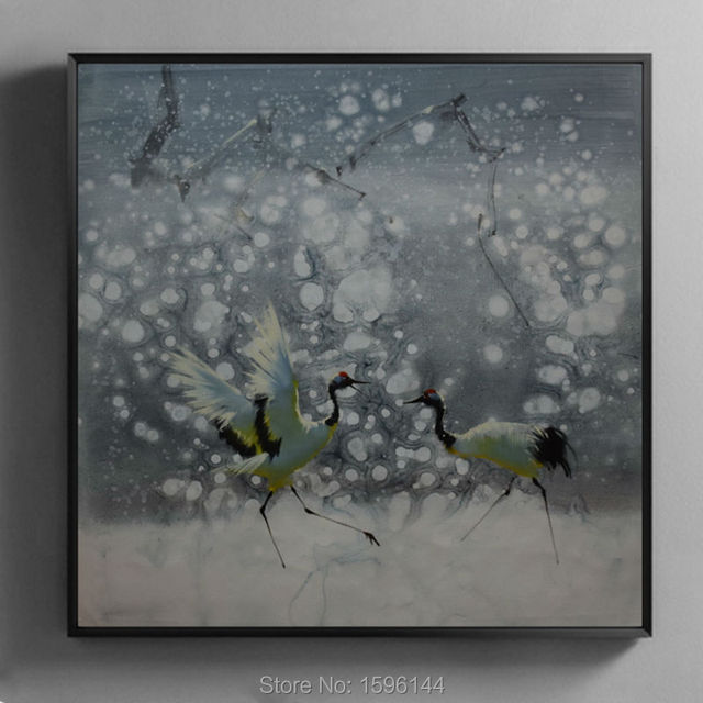 Oil Painting Hand made Impressionist painting Snow scene Red-crowned crane Wall art Picture Modern Decorative canvas painting
