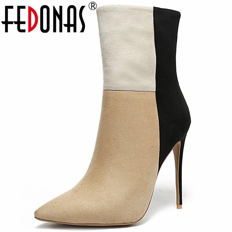 Pie Tacones 1 Otoño Corto Invierno E Patchwork Mujeres Marca Mujer Las Dedo Puntiagudo De Fiesta Zapatos negro Del Botas Fedonas Moda Martin nUOq0xR