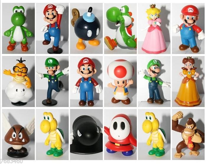 Free Shipping 18 in 1 Nintendo Super Mario Bros Game Series Toy Doll PVC Action Figure Gift
