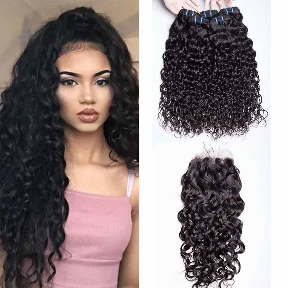 Yavida малазийские волосы, волнистые пучки с закрытием Связки малайзийских волос с закрытием человеческих волос 3 пучка с закрытием