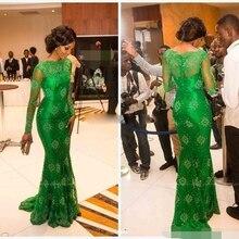 abiye gece elbisesi lace Long sleeves evening dress 2019 robe de soiree emerald green prom dresses mermaid