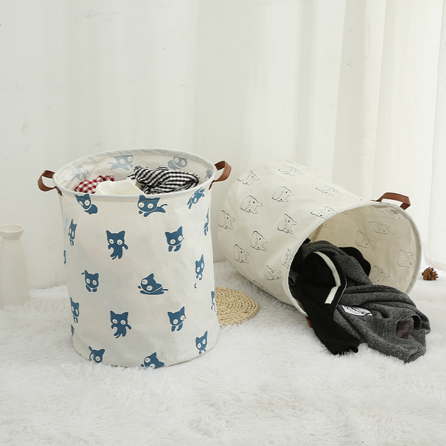 Totoro Foldable Canvas Laundry Basket for Book, Toy, Clothes Collapsible Cubes Storage Bin, Large Hamper Laundry Basket 4