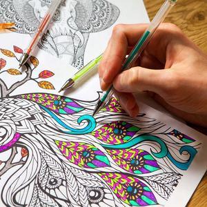 Image 4 - 100 stylos Gel ensemble de stylos à colorier pour livres à colorier pour adultes Scrapbooking dessin écriture y compris paillettes métalliques Pastel néon Sw