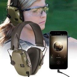 Tiroteio eletrônico Earmuff Amplificação de Som Audição Tático Esportes Ao Ar Livre Anti-ruído de Impacto Protetora Fone De Ouvido Dobrável