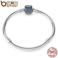 BAMOER Classic 100 925 Sterling Silver Basic Chain With Blue Snake Clasp Fit Charm Bracelets Necklaces