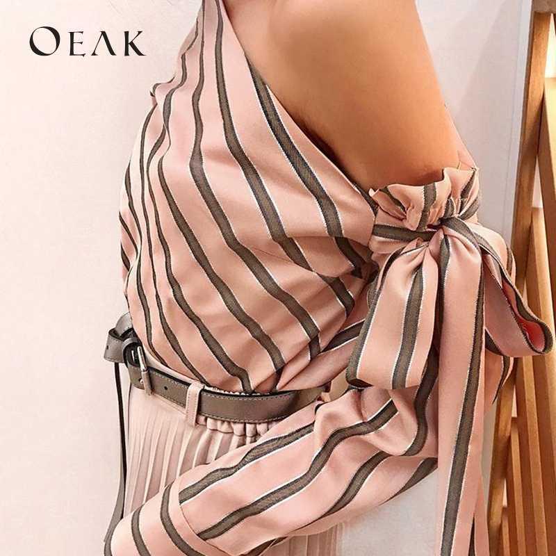 OEAK Весна лук с длинным рукавом Женские рубашки сексуальное с открытыми плечами женская блузка полосатый топ одежда camisas mujer