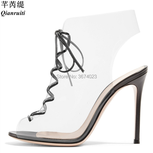 6deb360f1c747 Qianruiti Design Shoes Summer Sexy See-Through Sandals Gladiator Lace Up  PVC High Heels Peep Toe Invisible Transparent Stilettos