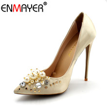 ENMAYER Basic Pumps for Women Pearl Charming Super High Heels Slip On Luxury Champagne Black Shoes Women Elegant Big Size 34-43