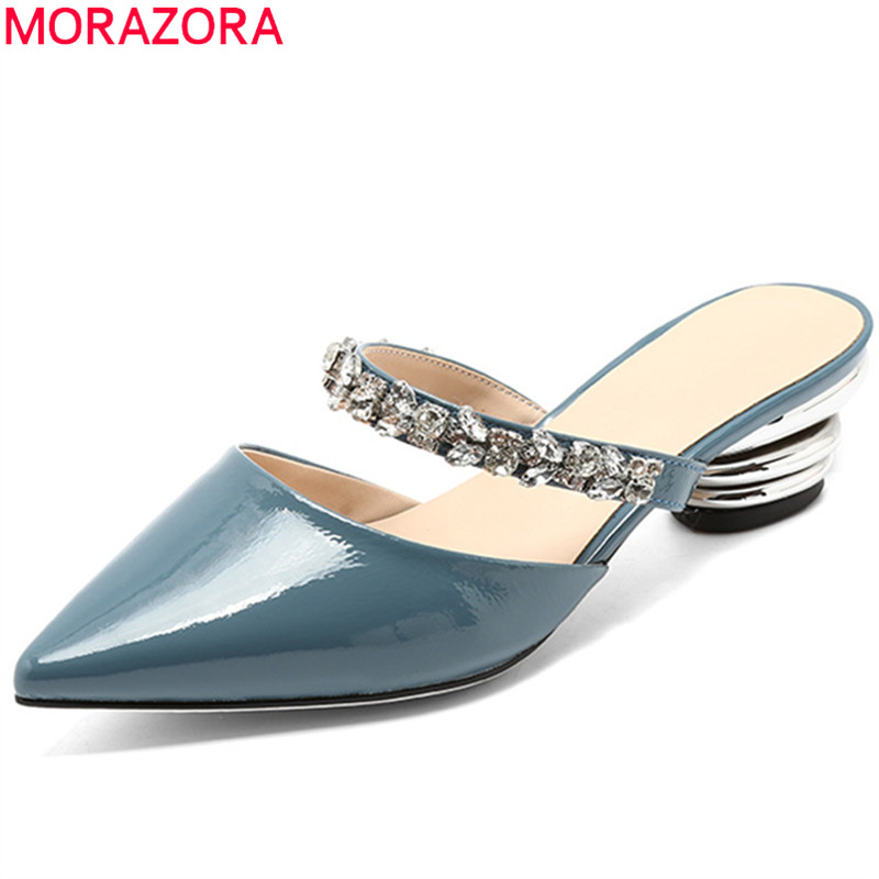 MORAZORA white casual fashion 2018 summer shoes woman pointed toe shallow elegant sandals women genuine leather med heels shoes smirnova 2018 summer new shoes woman pointed toe fashion rivet sandals women genuine leather med heels shoes square heel