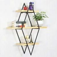 Living room diamond bookshelf iron art solid wood partition wall shelf bar bar wall decoration wall shelf