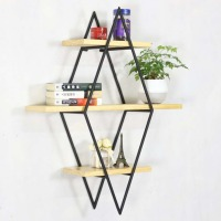 Living room diamond bookshelf iron art solid wood partition wall shelf bar bar wall decoration wall shelf