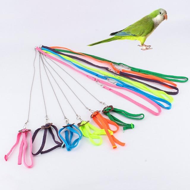 Pet Parrot Bird Harness & Leash Adjustable Light Soft Fashion Random