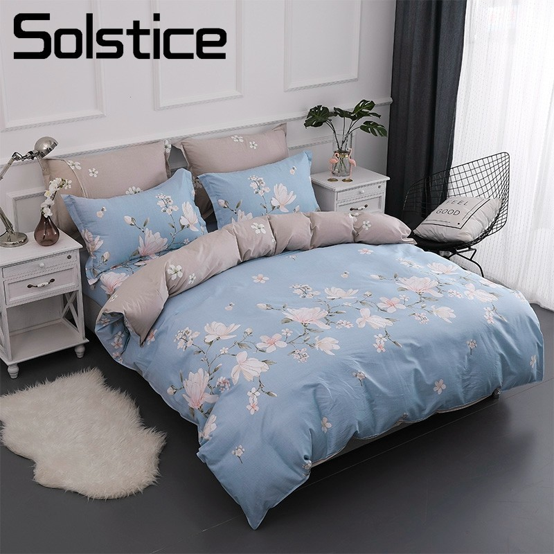 Solstice Home Textile Girls Bedding Set 100% Cotton Light Blue Flower Kid Teen Duvet Cover Pillowcase Bed Sheet Queen Full Linen