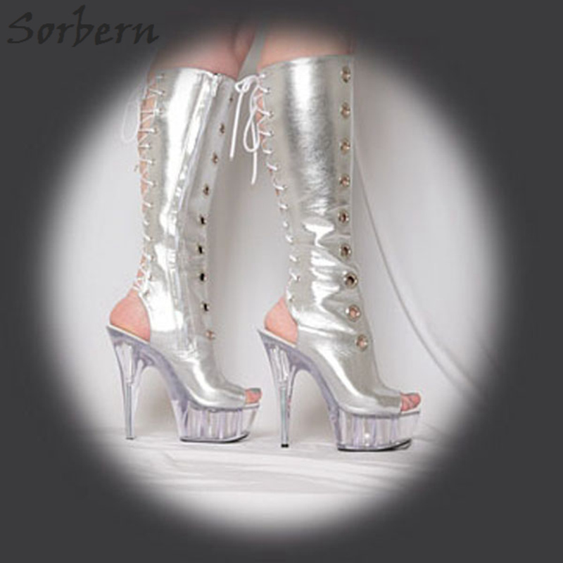 Sorbern Silver Open Toe Lace Up Knee High Boots For Women Clear High Heels Platform Pole Dance Women Boots Women Shoes Size 11Sorbern Silver Open Toe Lace Up Knee High Boots For Women Clear High Heels Platform Pole Dance Women Boots Women Shoes Size 11