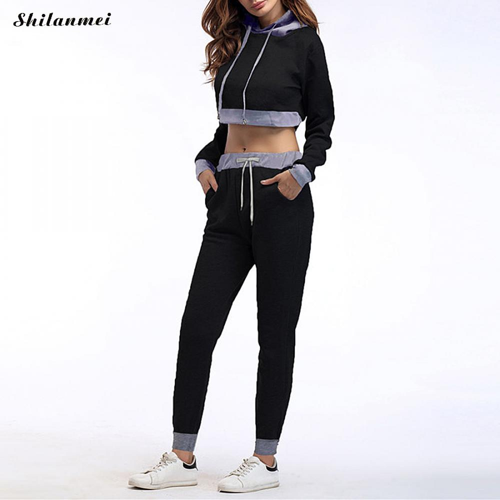 women casual spring autumn patchwork cropped tops pullover hooded sweatshirts and pants two pieces sets suits tracksuits