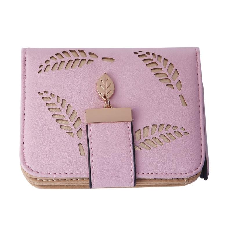 2018 Women Faux Leather Short Wallet Purse New Fashion Mini Clutch Purse Lady Handbag Bag Coin Purse Bags Lovely Leaf Print weichen pink love heart short wallet purse for fashion lady lovely mini day clutch
