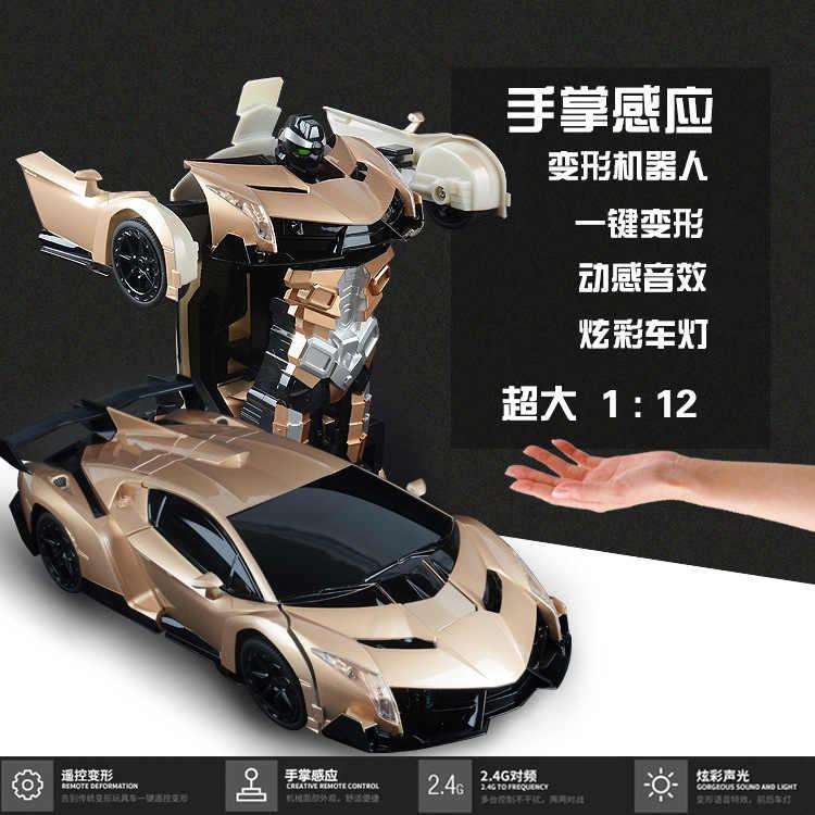 1:12 Control remoto 2In1 deformación robot juguete Sensor inducción Rc coche transformación Robots niños juguetes regalos de cumpleaños