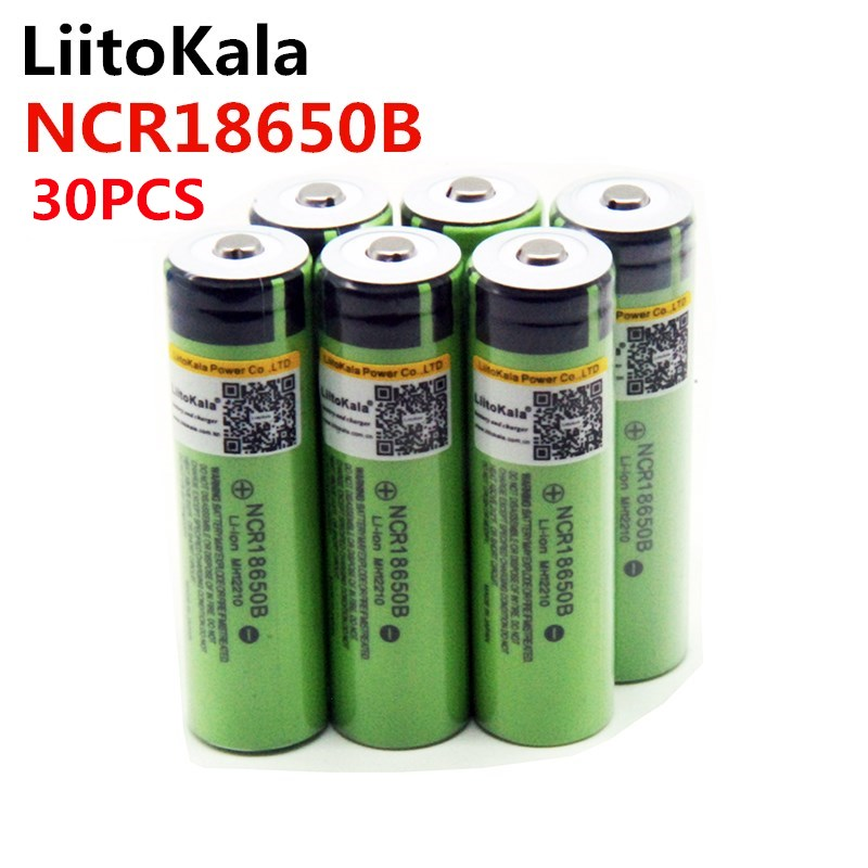 2019  NEW  30 pieces Original LiitoKala 18650 3400 mAh 3.7 V Rechargebale Li-ion battery protected 18650B 18650 34002019  NEW  30 pieces Original LiitoKala 18650 3400 mAh 3.7 V Rechargebale Li-ion battery protected 18650B 18650 3400