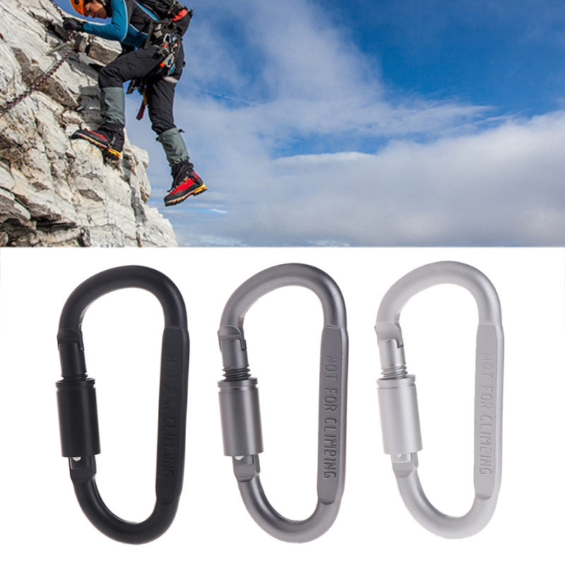 D Shaped Camping Carabiner Aluminum Alloy Locking Hook Ring Key Climbing Tools