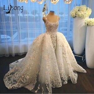 Image 1 - Dubai Kant Mermaid Wedding Jurken Met Puffy Trein Over Rok Abiye Bruidsjurken Arabië Vestido De Noiva Casamento2018