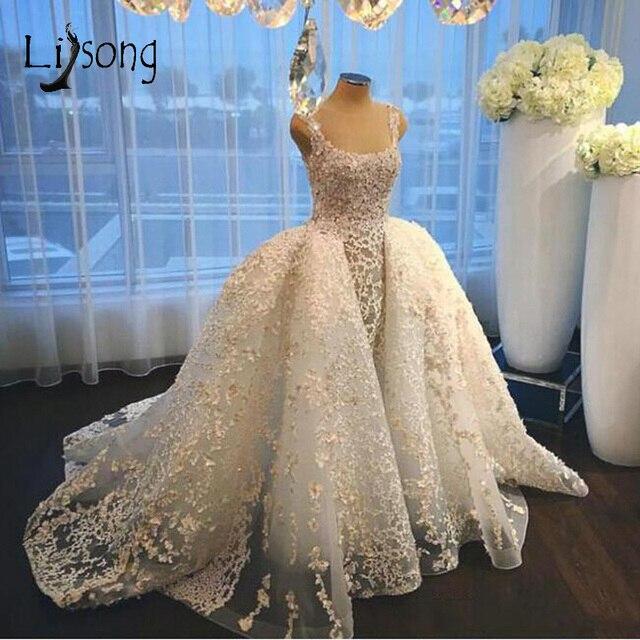 Dubai Kant Mermaid Wedding Jurken Met Puffy Trein Over Rok Abiye Bruidsjurken Arabië Vestido De Noiva Casamento2018